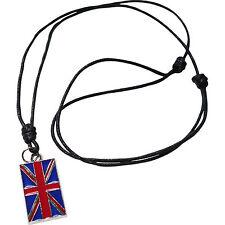 UK Flag Metal Pendant Cord Chain Mens Necklace Union Jack British United Kingdom