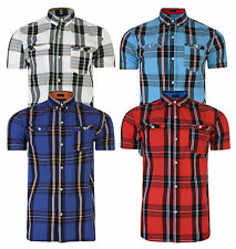 Firetrap Men's New Short Sleeve Check Shirt Retro Casual Smart White Blue Red