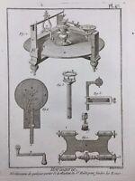Horlogerie 1765 Hulot Montre Pendule Rare Gravure Encyclopédie Diderot
