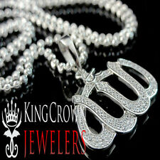 10K White Gold Silver Islamic Allah God Simu Diamond Pendant Charm Chain Set