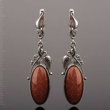 Russian silver 925 dangle aventurine earrings NWT, old style Snap Closure, 15,2g