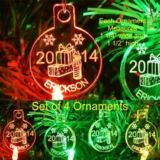 Presents Christmas Ornaments Name/Yr Mini Miniature Personalized Acrylic Set 4
