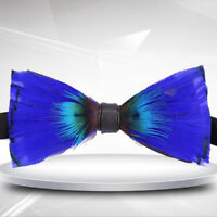 Refinement Blue Feather Bow Tie Men luxury wedding Necktie Tuxedo Shirt bowknot