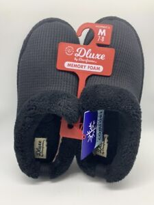Women's dluxe by dearfoams Clare slide Slippers Black Size M 7-8