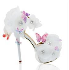 Mujeres Mariposa Floral Boda Nupcial Correa De Tobillo Plataforma Tacón Alto Zapatos 2485