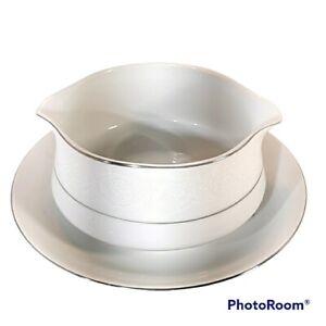 Southwicke Porcelain China w/Lace Silver Trim Japan Gravy Bowl Attached Plate
