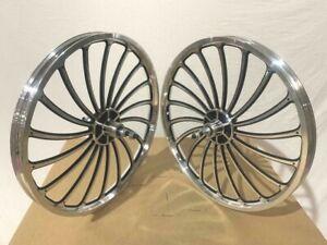 "Custom Alloy 20"" x 2.125 Wheelset 18 Spokes Chrome/Black BMX Bikes"