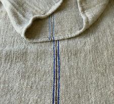Antique Twill Grainsack Mid-Late 1800s HEAVY French Blue Khaki Linen Grain Sack