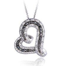 0.50ct TDW Black & White Diamond Floating Heart Necklace