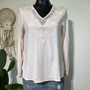 Small Petite PS NWT ANN TAYLOR Blush Pink Long Sleeve V-Neck Blouse Top