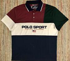 New listing Vintage 90's Ralph Lauren Polo Sport Flag Shirt L Color Block P-wing 1992 New