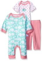 Gerber Baby Girls' 3 Piece Coverall Bodysuit and Legging Set, Aqua/Coral Fish