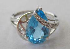 ESTATE 14K WHITE GOLD BLUE TOPAZ DIAMOND RING