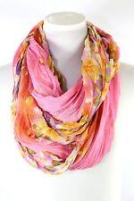 B22 Eternity Flower Light Pink Infinity Scarf Crinkle Pattern Wide & Long