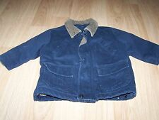 Size 24 Months The Children's Place Navy Blue Tan Winter Coat Jacket Lined Denim