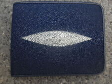 GENUINE STINGRAY FISH BLUE LEATHER WALLET MENS BI-FOLD  STING RAY