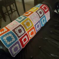 "Vintage Multicolored Granny Square Afghan Crochet Blanket Handmade 42""x28"" Throw"