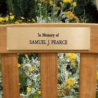 """ENGRAVED BRASS PLAQUE PLATE MEMORIAL SIGN BENCH PET 2"""" X 4"""" OFFICE"""