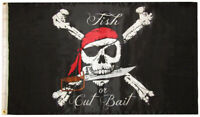 3x5 Pirate Red Hat Fish Or Cut Bait 3'x5' Premium 100D Polyester Flag