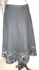 Monsoon Charcoal Wool Blend, Flared Embellished Skirt, Size 10