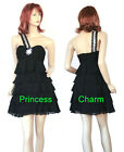 Size 10 12 Black Cocktail Party Prom Dress One Shoulder New