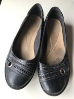 Clarks Ladies Women Leather Designer Court Pump Flat Shoe Brown Size 6.5 E