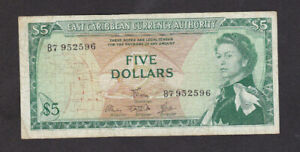 5 DOLLARS FINE BANKNOTE FROM BRITISH EAST CARIBBEAN 1965 PICK-14