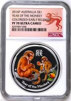 2016 P Australia PROOF COLORIZED Silver Lunar Year of Monkey NGC PF70 1oz Coin