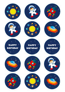 Space Theme Birthday Cupcake Toppers | Icing/Wafer Paper | Edible Print