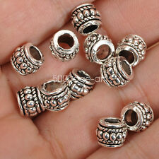 50pcs Tibetan Silver charm spacer beads loose Charms bead 6x8mm A3531