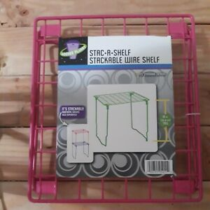 Locker Planet Stac-A-Shelf Tall 10 Inch Wire Stackable Locker Shelf, Pink