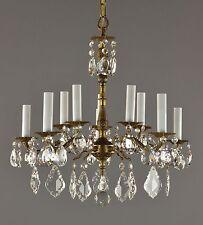 Spanish Brass & Crystal Chandelier c1950 Vintage Antique Restored Gold Ceiling