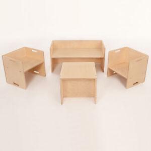 Mitwachsende 3 IN 1 ZAUBERSITZGRUPPE Holz Stuhl Bank Tisch Kindersitzgruppe kind