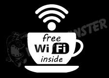 Free Wifi Inside Sticker, coffee shop restaurant window