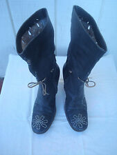 "Di Gada Grey Genuine Leather Women""s Cut out Summer Gladiator Boots Sz 37 Italy"