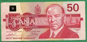1988 Bank of Canada 50 dollar Fifty dollars Canadian Bird series Thiessen Crow