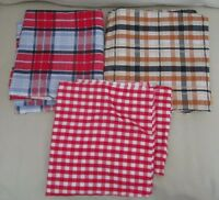 Vintage Lot of Plaid and Checked Seersucker Fabric 1980's 1990's Various Colors