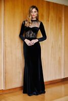 TADASHI SHOJI Black Marcella Corset Lace Illusion Mesh Inset Velvet Gown 2 ~ NWD