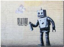 "BANKSY STREET ART CANVAS PRINT Bad Robot 32""X 24"" stencil poster brick wall"