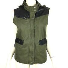 Urban Outfitters BDG Green Vegan Leather Trim Surplus Vest Outdoor Women M