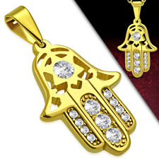 Hamsa Star Davidt CZ Luck Pendant Necklace Stainless Steel Gold-Tone Charm Hand