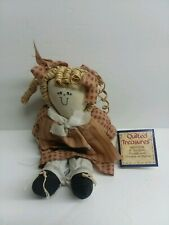 """Quilted Treasures Christmas Angel Doll Rafia Hair Nwt 8"""" plaid toy collectible"""