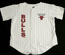 Vtg Front Row Chicago BULLS Basketball Grey Pinstripe Jersey T Shirt Mens L