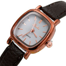 Fashion Women Luxury Leather Band Quartz Square Gold Casual Analog Wrist Watches