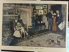 "Vintage Print 1901 ""Santa Claus' Best Gift"" Young Girl W/ Her New Dog! Frame It!"