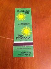 Vintage THE PROVINCIAL Ontario Canada Million Dollar Lottery Matchbook Cover old