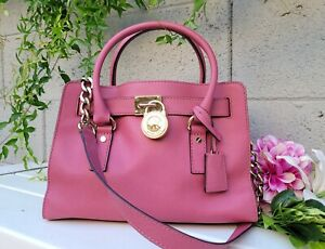 Michael Kors Hamilton saffiano leather satchel handbag shoulder purse bag pink