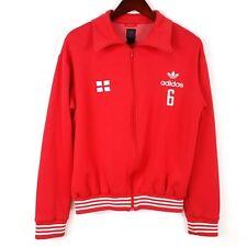 Vtg Adidas sz L Red White Sports Jacket Stripes Full Zip Trefoil