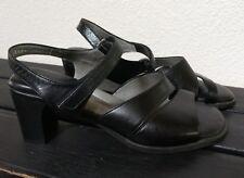 BEAUTIFEEL Black Leather Slingback Open Toe Comfort Heel Sandal Shoes 38 7.5-8