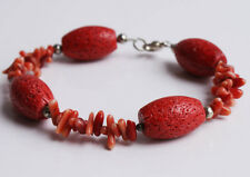 Handcrafted Red Coral Genuine Semi-precious Gemstone Bracelet Gift Unique Chunky